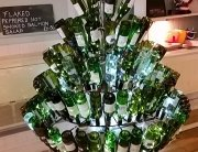 Our Handmade xmas tree with the help of customers wine bottles.